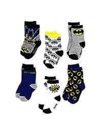 Batman Toddler 6 pack Crew Socks (2T/3T, Batman Pow!)