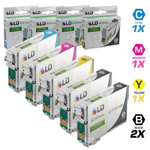 LD Remanufactured Ink Cartridge Replacement for Epson 125 (2 Black, 1 Cyan, 1 Magenta, 1 Yellow, 5-Pack)