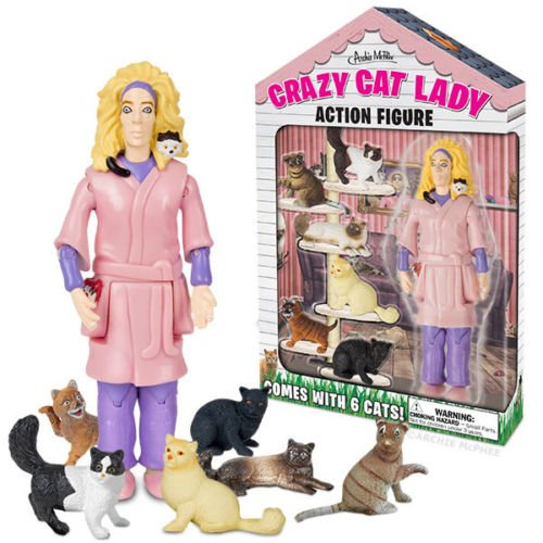 Crazy Cat Lady Action Figure Unique Gift Novelty Toy Kitsch Weird Toy Funny Cats