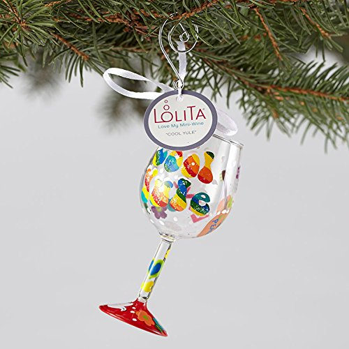 Enesco Lolita Christmas Mini Wine Glass Hanging Ornament (Cool Yule ORN5-5546B) (Lolita Wine Ornament Glass)
