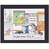 Veterinarian Gift Personalized Custom Cartoon Print 8x10, 9x12 Magnet or Keychain