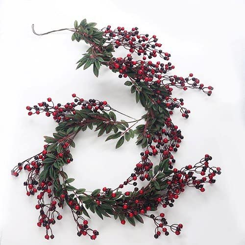 Artificial Red Berry Garland Christmas Harvest Or Autumn Fake Garland Amazon Co Uk Kitchen Home