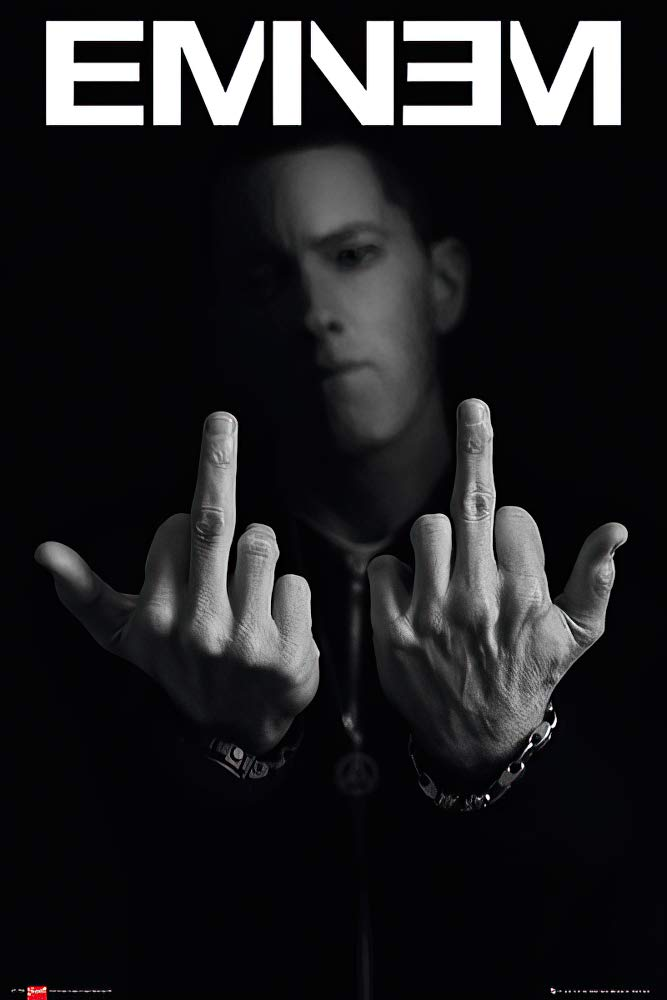 "POSTER STOP ONLINE Eminem - Music/Personality Poster (Fingers/Flipping The Bird) (Size 24"" x 36"")"