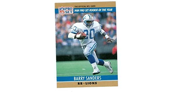 Amazoncom Barry Sanders Football Card 1990 Pro Set Rookie Card