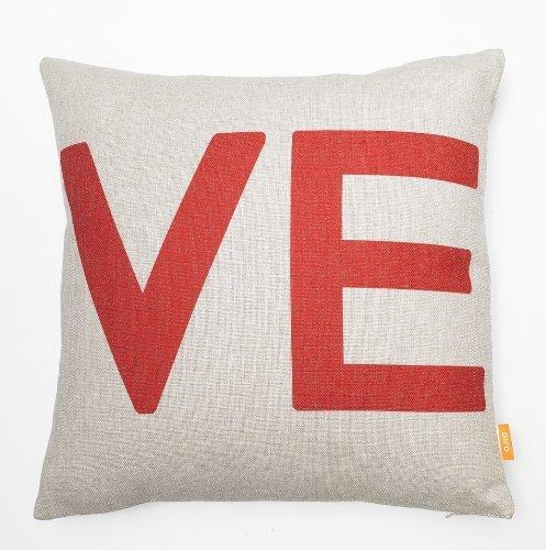 "OJIA 18 X 18"" Cotton Linen Decorative Couple Throw Pillow Cover Cushion Case Couple Pillow Case, Set of 2 - Love"