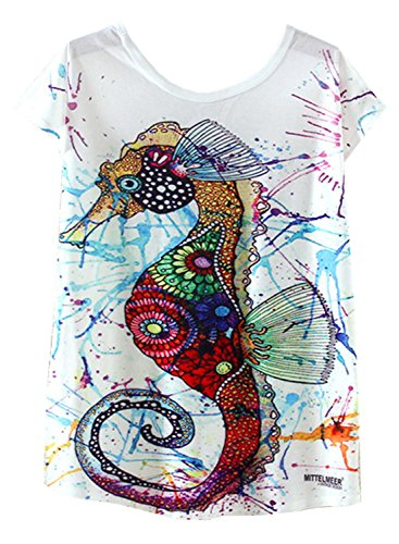 Drop Sleeve T-shirt (Futurino Women's Colorful Sea Horse Print Drop Sleeve T Shirt Tops,Multi,Small)