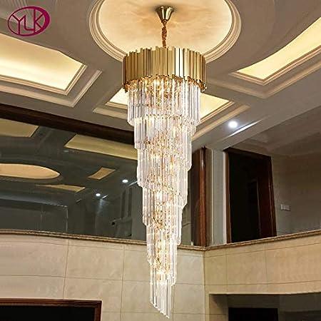Apliques Pared Iluminación de araña moderna de lujo párrafo superiores escalera larga de Cristal Dorado accesorios de luz Gran pasillo interior lámpara escalera Cristal, Tamaño: Dia50xH160CM, Color de: Amazon.es: Hogar