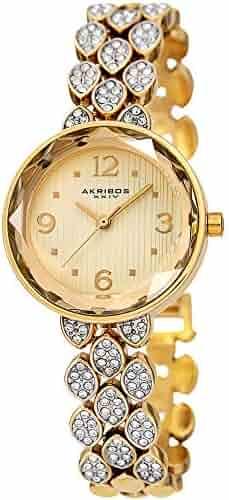 f73c726c6241 Akribos XXIV Swarovski Crystal Studded Women s Watch – Gold Tone Link  Bracelet Strap Small Round Polished