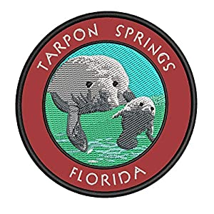 "Tarpon Springs Florida 3.5"" Embroidered Iron or Sew-on Patch Souvenir Travel Vacation Adventure Logo Series Nature Ocean Beach Tour"