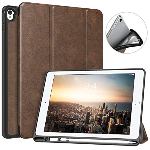 MoKo Case Fit iPad Pro 9.7 with Apple Pencil Holder - Slim Lightweight Smart Shell Stand Cover Case with Auto Wake/Sleep Fit Apple iPad Pro 9.7 Inch 2016 Tablet, Brown