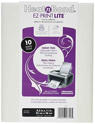 Thermo Bond (Thermo Web 3358 Heat and Bond EZ-Print Lite Iron-On Adhesive, 8-1/2 by 11-Inch, White, 10-Pack)