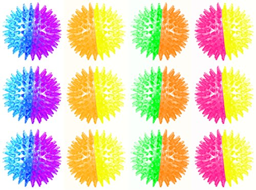 Set of 12 Light Up LED 'Twin Color Spiked Ball' Children's Kid's Toy Yoyo Ball (Colors May Vary)