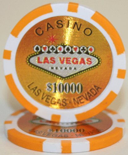 25 $10,000 Las Vegas 14 Gram Laser Graphic Poker Chips (Laser Gram Graphic 14)
