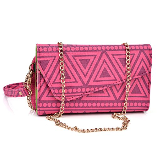 Kroo Clutch Wristlet Purse with Gold Tone Chain for Smartphones - Frustration-Free Packaging - Magenta