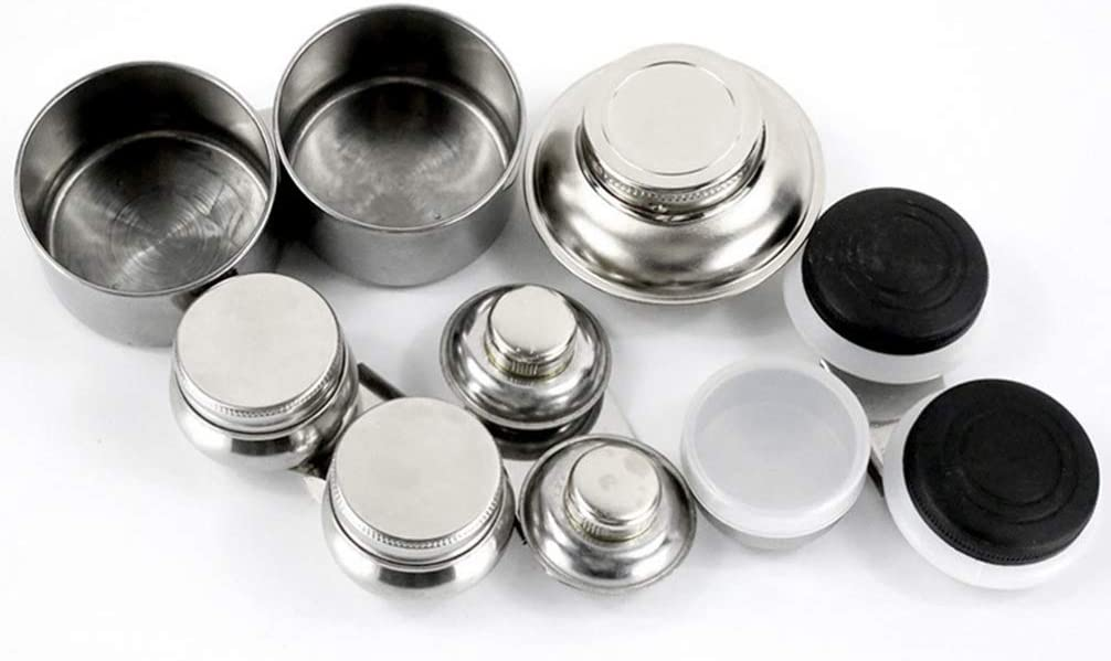 TOYANDONA Stainless Steel Double Palette Cup with Lid and Clip Mouth Double Dipper Oil Container for Acrylic or Oil Paint