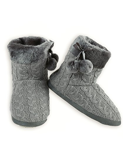 with Women's Faux ICONOFLASH Knit Gray Fur Slipper Bootie Trim Cable TxqgdX