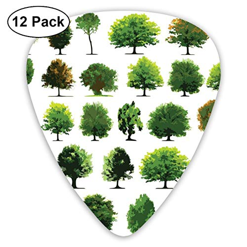 (Guitar Picks 12-Pack,Mother Nature Gift Different Types Of Trees And Pines Planes Bushes Art Print)
