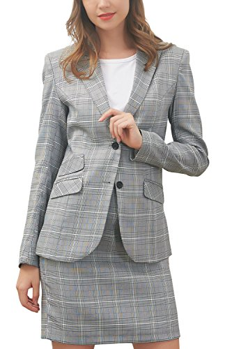 Hanayome Women's Suit Set Two Pieces Casual Tartan Blazer Slim Fit Short Dress MI5 (Grey, 16W) by Hanayome