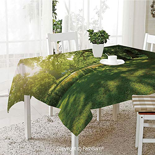 AmaUncle Party Decorations Tablecloth Summer Park in Hamburg Germany Trees Sunlight Forest Nature Theme Scenic Outdoors Picture Kitchen Rectangular Table Cover (W60 xL104)]()