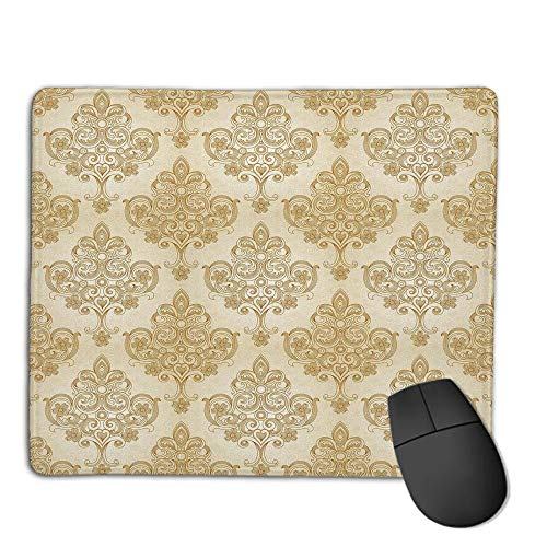 Premium Mouse Pad with Waterproof, Non Slip & Elegant Stitched Edges,Ivory,Vintage Baroque Pattern with Curved Flower Lines Rococo Style Ornate Artwork,Cream Light Brown,Consoles More Enjoy Precise