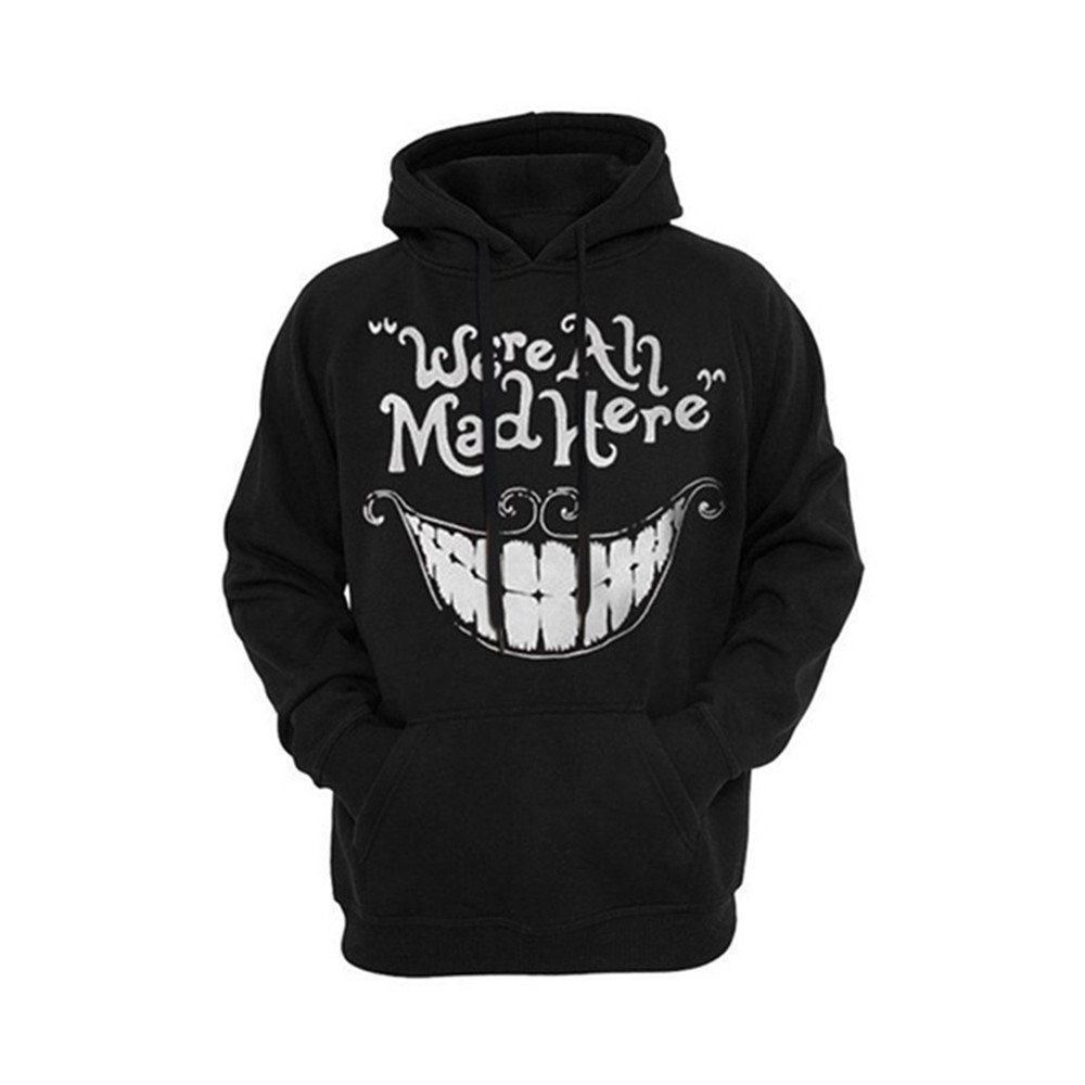 Cayyon 3D Printing Hoodie Women and Men Lovers Cheshire cat Smiling face Long Sleeve Hat Clothes