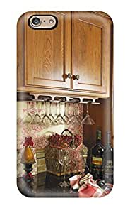 Top Quality Protection Wood Cabinet Floral Kitchen Wine Bar Case Cover For Iphone 6(3D PC Soft Case)