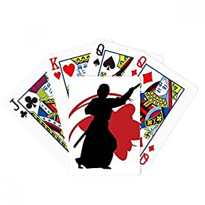Japan Asia Samurai Katana Sakura Parry Silhouette Poker Playing Cards Tabletop Game Gift