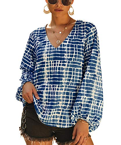 PRETTYGARDEN Women's Casual V Neck Lantern Long Sleeve Printed Retro Loose Pullover Blouse Tops (Navy, Medium)