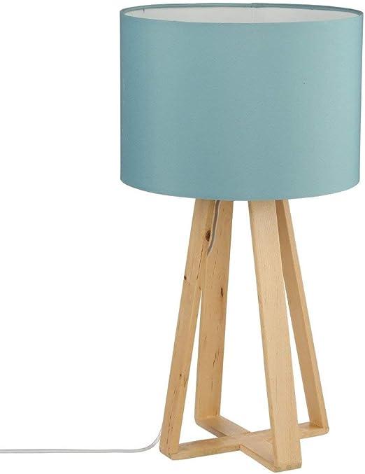 Atmosphera Lámpara de Mesa con pie de Madera Natural, Pantalla de Color Azul: Amazon.es: Hogar