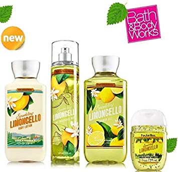BATH AND BODY WORKS SPARKLING LIMONCELLO SET shower gel body lotion fragrance mist .10 oz. Small Sanitizing Hand Gel Lot of 4