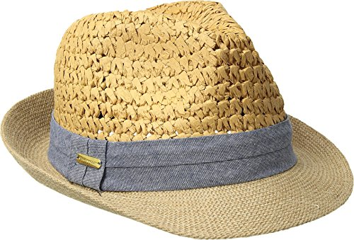 Steve Madden Women's Two Weave Banded Fedora, Denim, One (Banded Straw Fedora Hat)