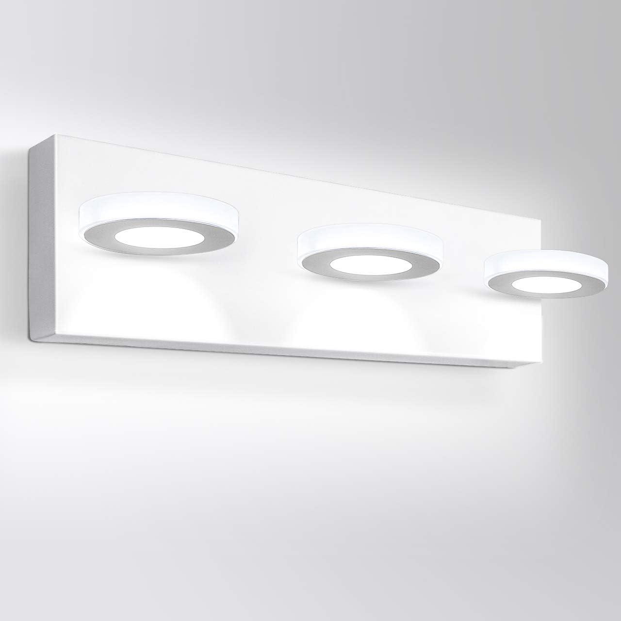 Amazon Com Oowolf Led Bathroom Vanity Lights 17 Inch Modern Wall Light Fixtures 3 Lights Acrylic Wall Lighting Indoor For Bathroom Lamp 6000k 1200lm Cool White Light Home Improvement