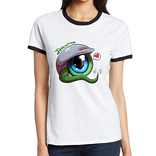 JAX D Women's Cotton Big Eyes With Heart Sport T-Shirt Black - Oakley Tumblr