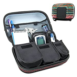 Diabetic Supplies Travel Case Organizer for Blood Glucose Monitoring Systems , Syringes , Pens , Insulin Vials & Lancets by USA Gear - ACCU-CHEK Nano , Bayer Contour , TRUEtest and More