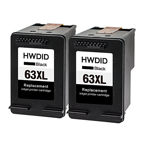 HWDID Remanufactured Ink Cartridge Replacement for HP 63 63XL (2 Black ) Envy 4520 Officejet 4650 Officeje 3830 3833 4655 with Ink Level Indicator
