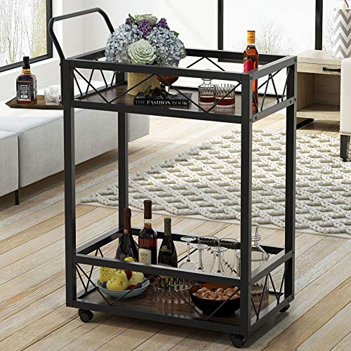 Tribesigns Carter Bar and Serving Cart, Modern 2-Tier Wood and Metal Wine Rack on Wheels with Storage for Dining Room, Living Room or Kitchen, Black