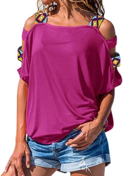 Camisetas Mujer Manga Corta Hipster Camisetas Mujer Verano Blusa Fuera El Hombro Mujer Sport Tops Mujer Verano Camisetas Casual Escote Mujer Camisetas Mujer Camiseta Tops: Amazon.es: Ropa y accesorios