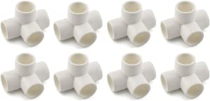 "SDTC Tech 1/2"" 4 Way PVC Fitting Furniture Grade Pipe Elbow Connector for DIY PVC Shelf Garden Support Structure Storage Frame, White - 8 Pack"