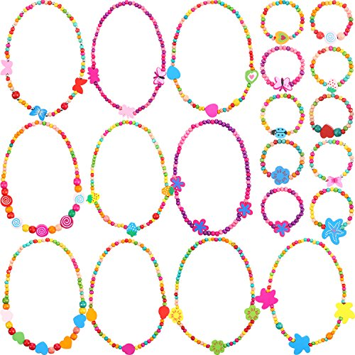 - Bememo 10 Pieces Colorful Wooden Jewelry Collections Little Girl Party Favor Princess Necklace Bracelet Set
