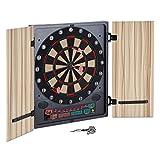 oneConcept Dartmaster 180 elektronische Dartscheibe Dartautomat Dartboard (12 Pfeile und Ersatzspitzen, Softtip-Darts, Türen) beige