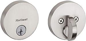 Kwikset Satin Nickel 92580-002 258 Uptown Low Profile Slim Round Modern Contemporary Single Cylinder Deadbolt Door Lock featuring SmartKey Security, none