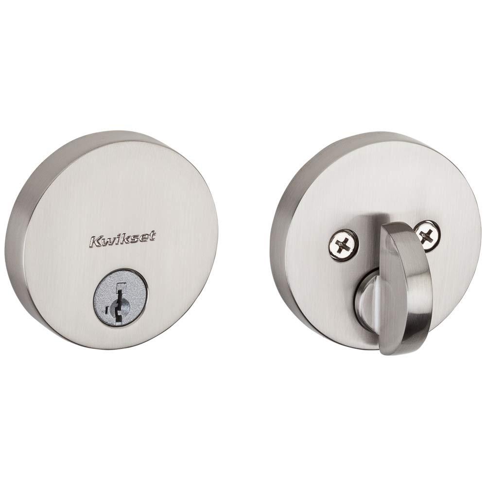Kwikset 92580-002 258 Uptown Low Profile Slim Round Modern Contemporary Single Cylinder Deadbolt Door Lock featuring SmartKey Security in Satin Nickel