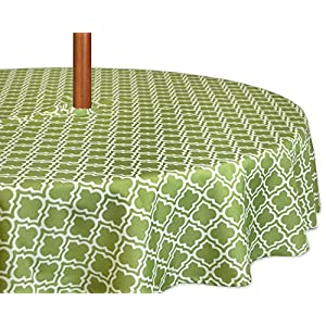"DII Spring & Summer Outdoor Tablecloth, Spill Proof and Waterproof with Zipper and Umbrella Hole, Host Backyard Parties, BBQs, Family Gatherings - (52"" Round - Seats 2 to 4) Fresh Spring Lattice"