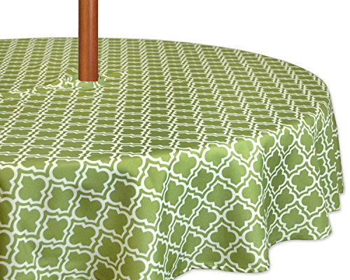 Open Round Link - DII Spring & Summer Outdoor Tablecloth, Spill Proof and Waterproof with Zipper and Umbrella Hole, Host Backyard Parties, BBQs, & Family Gatherings - (60