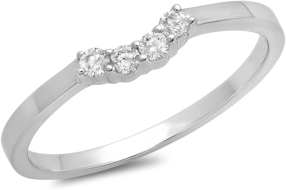 ctw 14K Gold Round Diamond Ladies Contour Anniversary Wedding Stackable Band Guard Ring 0.15 Carat