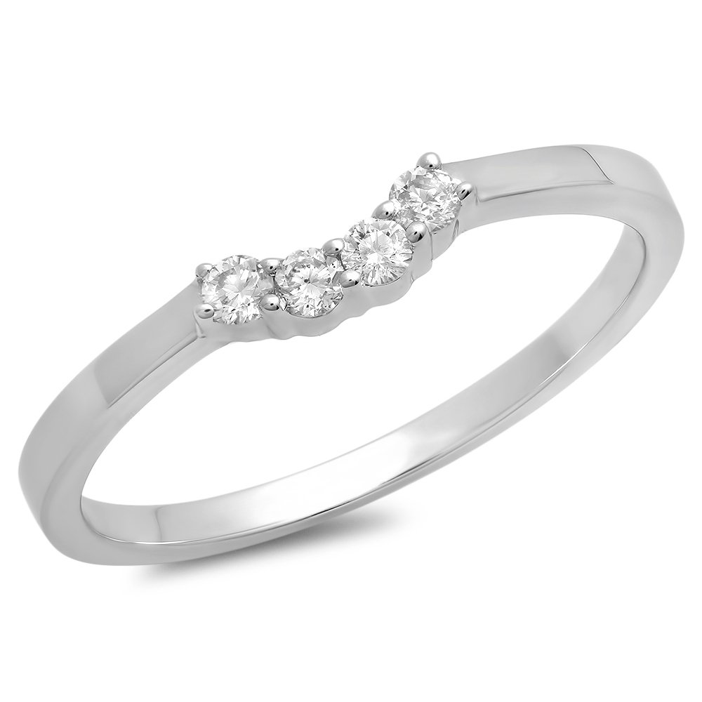 0.15 Carat (ctw) 14K White Gold Round Diamond Contour Wedding Stackable Band Guard Ring (Size 6)