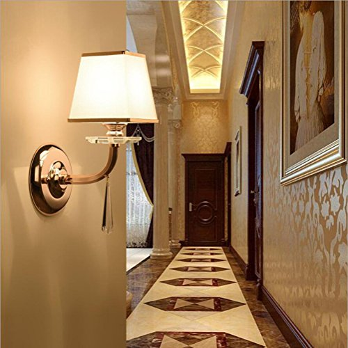 Wall Lamp Stainless Steel Wall Lamp LED Wall Light Crystal Wall Lamp Living Room Bedroom Corridor Fabric Luxury Hotel Bedroom Crystal Wall Lamp by Eif (Image #3)