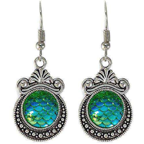 Mermaid Earrings: Vintage Mermaid Scale Charm Earring Set for Women, Dragon Egg Dangle Earrings Gift Ready Packaging (Turquoise) Dragon Vintage Earrings
