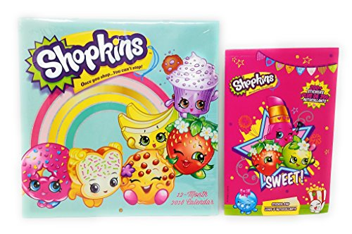Shopkins Kids Calendar 2018 12 Month with BONUS Stickers To Mark Those Special Dates
