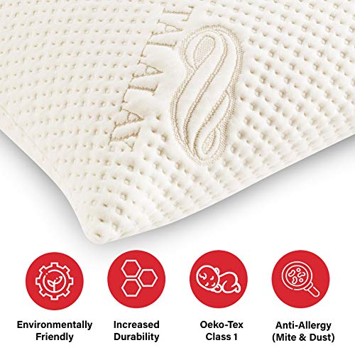 Pure Talalay Bliss - Latex Foam Pillow - Breathable Bamboo Cover - Classic - Queen - Low Profile